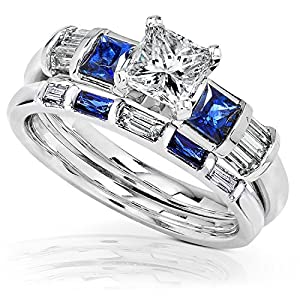 Blue Sapphire & Diamond Wedding Rings Set 1 1/2 Carat (ctw) In 14k White Gold