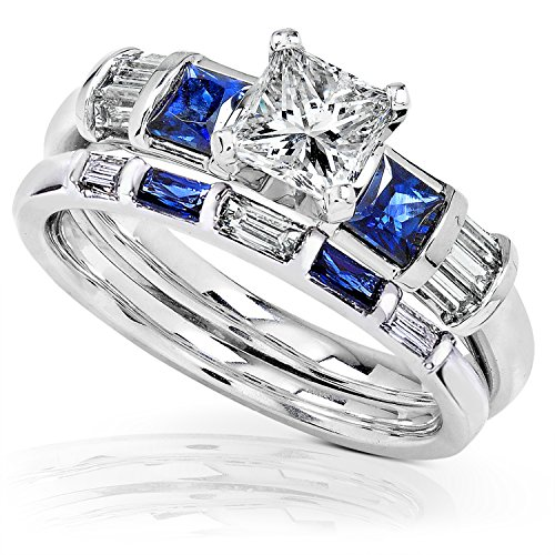 Blue Sapphire & Diamond Wedding Rings Set 1 1/2 Carat (ctw) In 14k White Gold, Size ()