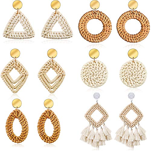6 Pairs Woven Rattan Earrings Dangle Hoop Tassel Earrings Bohemian Statement Handmade Wicker Straw Circle Drop Earrings (Style A)