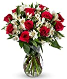 Benchmark Bouquets Signature Roses and Alstroemeria, With Vase (Fresh Cut Flowers): more info