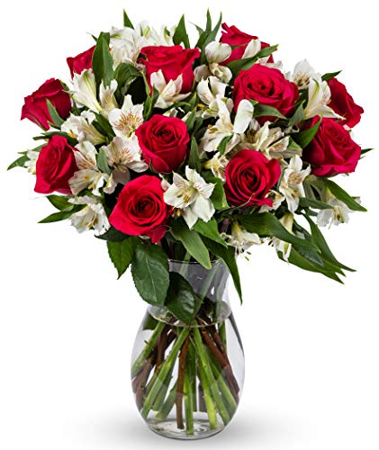 - Benchmark Bouquets Signature Roses and Alstroemeria, With Vase (Fresh Cut Flowers)