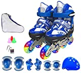 ZCRFY Roller Skates Inline Skates Boys Girls Adjustable Size Roller Childrens Adults Kids Rollerblades Set For Beginners Toddlers Flash Professional Ice Skate Set,Darkblue-S