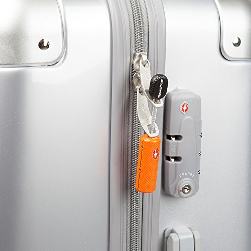 4 Pack TSA Approved Luggage Locks with Keys for Travel - Flexible Ultra Secure Mini Key Padlock & Metal Zinc Alloy Material - Orange