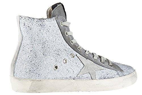 Golden Goose chaussures baskets sneakers hautes femme en cuir francy gris