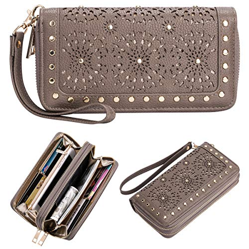 - Wristlet Wallet Purses For Women Double Zipper Clutch Perforated Snail Studs Card Holders Cellphone Pocket