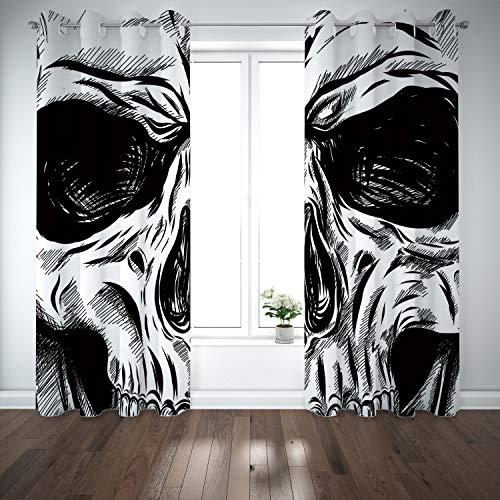 SCOCICI Grommet Blackout Window Curtains Drapes [ Halloween,Gothic Dead Skull Face Close Up Sketch Evil Anatomy Skeleton Artsy Illustration Decorative,Black White] Living Room Bedroom Kitchen Cafe