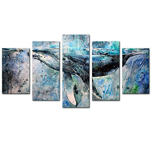 5 Panels Abstract Blue Whale Picture Canvas Prints Modern Wall Art Painting with Stretched and Framed for Home Decoration (12x20inchx2pcs+12x26inchx2pcs+12x32inchx1pcs)