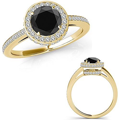1 18 Carat Black Diamond Beautiful Design Halo Half Eternity
