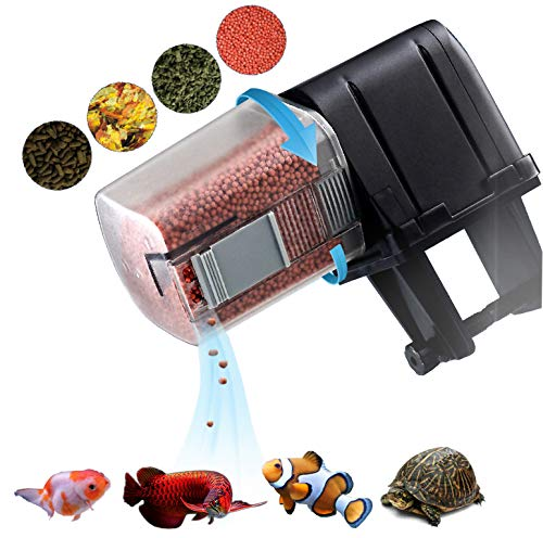 AquaticHI Digital Automatic Fish Feeder for Aquariums/Reptile Tank/Pond, Programmable for up to Four Feedings a Day, Use for Turtles, Saltwater/Tropical Fish, Freshwater Fish Like Gold Fish ()