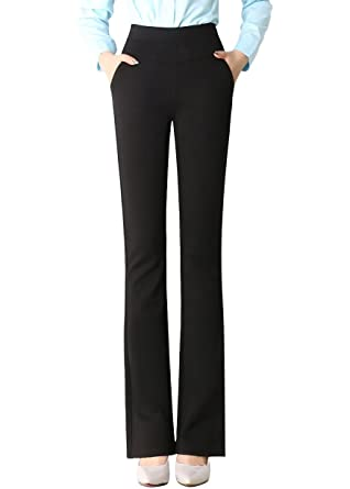 c1838b1ed23 Image Unavailable. Image not available for. Color  Smibra Womens Elastic  Knit High Waist Bootcut Pants ...