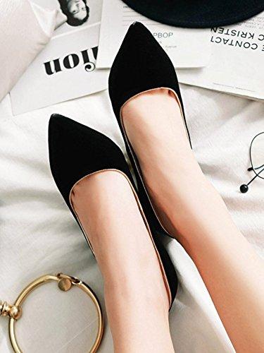 Zapatos De Tacón Con Cordones Para Mujer De Aisun - Zapatos Con Tacón En Punta De Boda - Zapatos De Tacón Bajo De Ante Imitación Negro