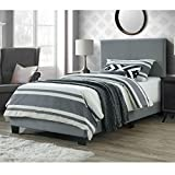 DG Casa 9050-T-GRY Kelly Upholstered Panel Bed Frame, Twin Size in Grey Faux Leather, Gray