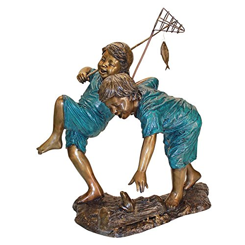 Design Toscano Trouble Fishing Boys Garden Statue, Cast Bronze