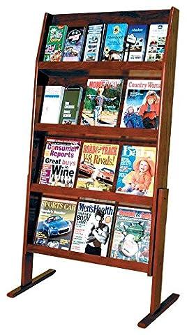 Wooden Mallet Slope 24 Pocket Standing Literature Display 4Hx 6W, Mahogany - Pocket Literature Floor Display
