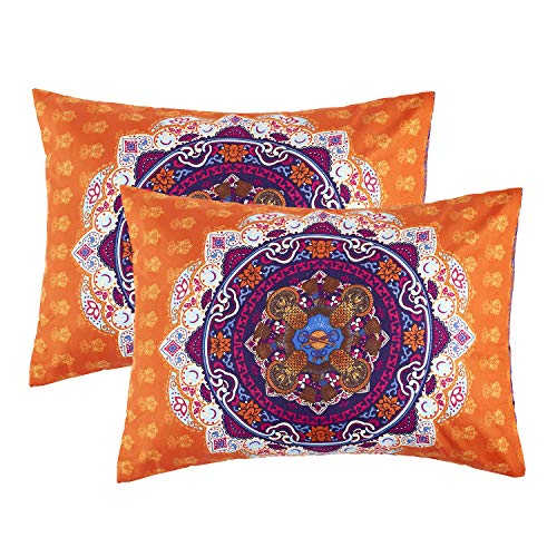 (Wake In Cloud - Pack of 2 Pillow Cases, Orange Bohemian Boho Chic Mandala Medallion Printed Soft Microfiber Pillowcases (2pcs, Standard Size, 20x26 Inches))