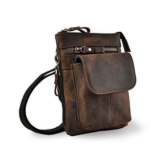 Meoaeo Vintage Auténtico Cuero Natural Cintura Cintura Natural Hombres Multifunción Correa Al Hombro Cabestrillo Bolsas Para Viaje Loco De Café 64b841