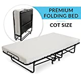 "Milliard Premium Folding Bed with Luxurious Memory Foam Mattress – Perfect Guest Bed Featuring a Super Strong Sturdy Frame - (No Assembly Required Just Screw in the Wheels and Go) - 75"" X 31.5"""