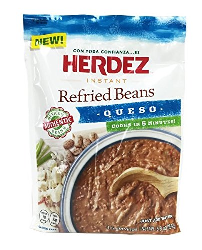 Herdez Instant Refried Beans Queso Pouch (Pack of 3) - 5.8 oz by Herdez