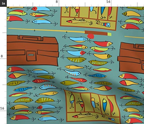 Gone Fishing Fabric - Lures P3 Summer Lake Bait Tackle Box Fish Sport Print on Fabric by The Yard - Sport Lycra for Swimwear Performance Leggings Apparel Fashion