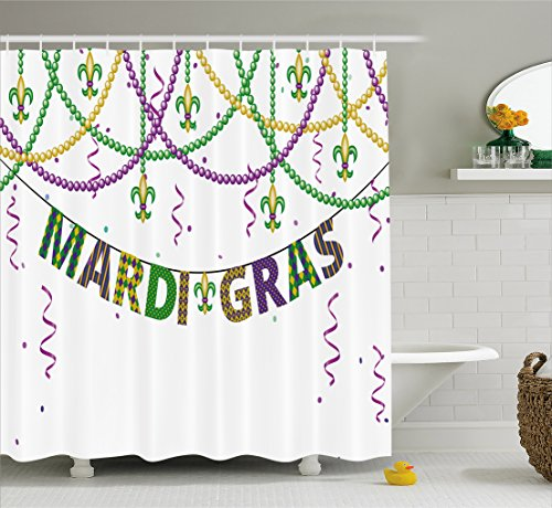 Mardi Gras Shower Curtain by Ambesonne, Festive Decorations with Fleur De Lis Icons Hanging From Colorful Beads, Fabric Bathroom Decor Set with Hooks, 70 Inches, Purple Green Yellow