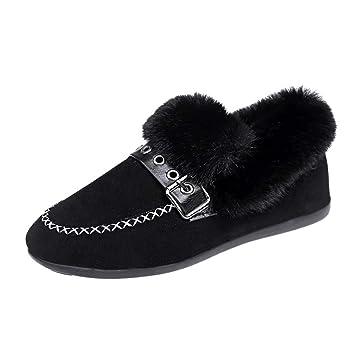 LuckyGirls Zapatos de Ante Las Mujeres Cruzado Mocasines Pelo con Hebilla Zapatos Planos: Amazon.es: Deportes y aire libre