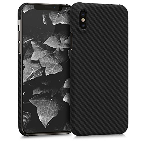 kalibri Case for Apple iPhone X - Strong Solid Aramid Fiber Body Armor Protective Hard Back Cover - - Bezel Fiber Carbon