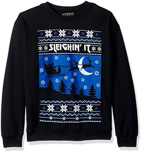 Hybrid Men's Sleighin It Holiday Pullover, Black, L