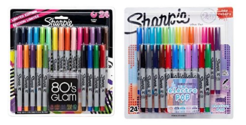 Sharpie Ultra-Fine Point Permanent Markers, 80s Glam and Electro Pop Colors, 48 Markers In Total (2 Pack) ()