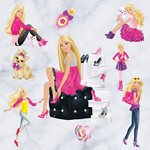 CH e-office Birthday School Decorative Wallpaper Cute Barbie Girls Mural Removable Wall Sticker Nursery Wall Art Decal ()