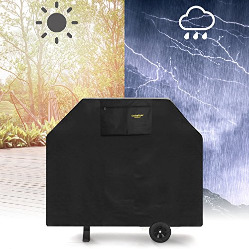 Felicite Home 64 Inches Burner Gas Grill Cover Heavy Duty Fits Most Brands of Grill - 600D Waterproof BBQ Grill Cover + Storage Bag(UV & Dust & Water Resistant, Weather Resistant, Rip Resistant)Black