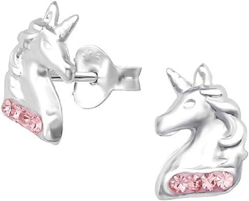 Boucles doreilles Licorne Argent Sterling 925 Clous doreilles avec Cristal Swarovski Bijoux Licorne Cadeau Anniversaire Fille Enfants Femme