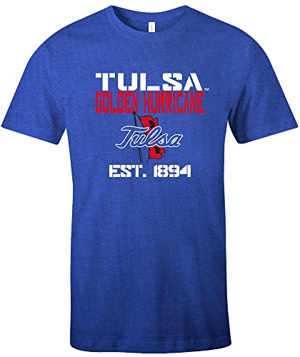 NCAA Tulsa Golden Hurricane Est Stack Jersey Short Sleeve T-Shirt, Royal,Small
