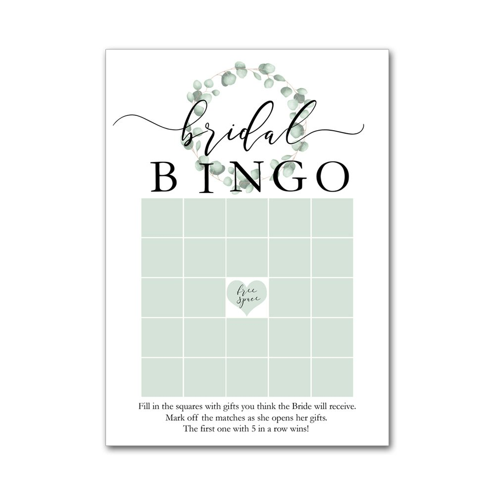 Heads Up Girls Bingo Game Cards for Bridal Wedding Showers with Watercolor Eucalyptus Leaf Wreath BBG8008