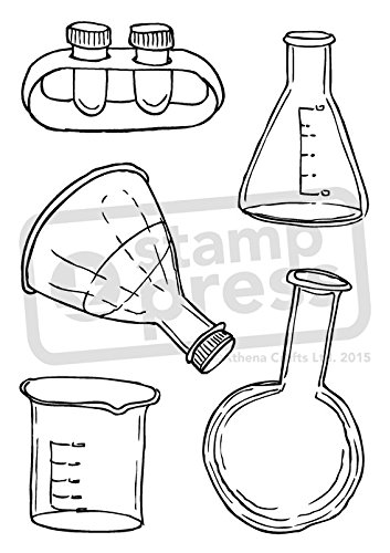 A6 Scientific Beakers Flasks Unmounted Rubber Stamp Sp00004669
