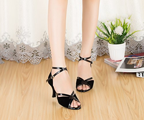 Miyoopark Womens Handmade Suede Latin Tango Ballroom Shoes Wedding Evening Sandalen Zwart-7.5cm Hak