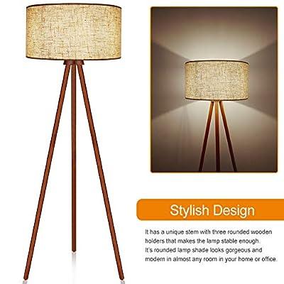 LEPOWER Wooden Floor Lamp, Reading, Decoration for Bedroom, Living Room