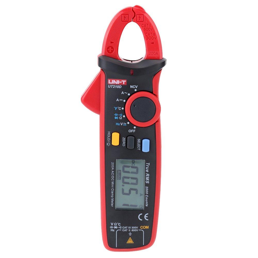 High precision UNI-T UT210D Digital AC/DC Current Voltage Resistance Capacitance Clamp Meter Multimeter Temperature Measurement Auto Range (UT-210D)