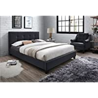 Light charcoal Linen Platform Bed (Queen, Black)