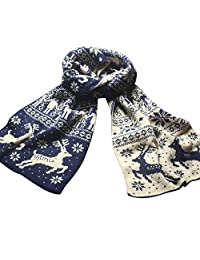 Blanket Scarf,Head Scarf For Women,Headband Scarf,Scarf For Men Blue,Christmas Reindeer Snowflake Scarf Warm Thick Winter Shawl Xmas Gift,Navy,M