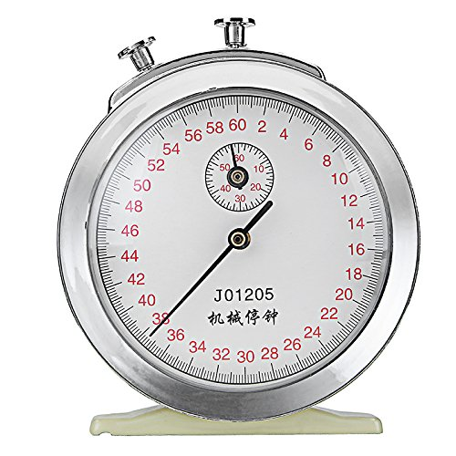 HITSAN Mechanical Windup Stopwatch Clock 60s 0.2s 60min Game Timing Physics Experiment Timer ()