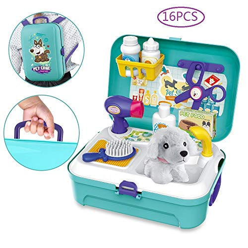 BeebeeRun Vet Kit Pet Care Play Set 16 PCS Dog Grooming Kit with Backpack Educational Pretend Play Toy for Toddlers Kids…