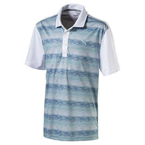 Puma Golf Boys Junior Road Map Polo, Bright White/Bluefish, Large