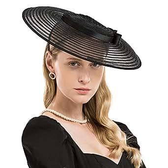 F FADVES Fascinators for Women Elegant Wide Brim Kentucky Derby Church Wedding Hat - Black - Medium