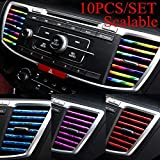 10Pcs/SET 20Cm Car Styling Interior Air Vent Grille Switch Rim Trim Outlet Scratch Guard Protector Car Styling Strip