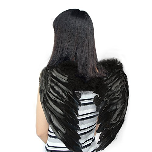 Back Adult Wings Feather (Yuda Angel Feathers Wings Costume Fairy Fancy Ball for Halloween Christmas Holiday Party, Black, 31.5x23.6