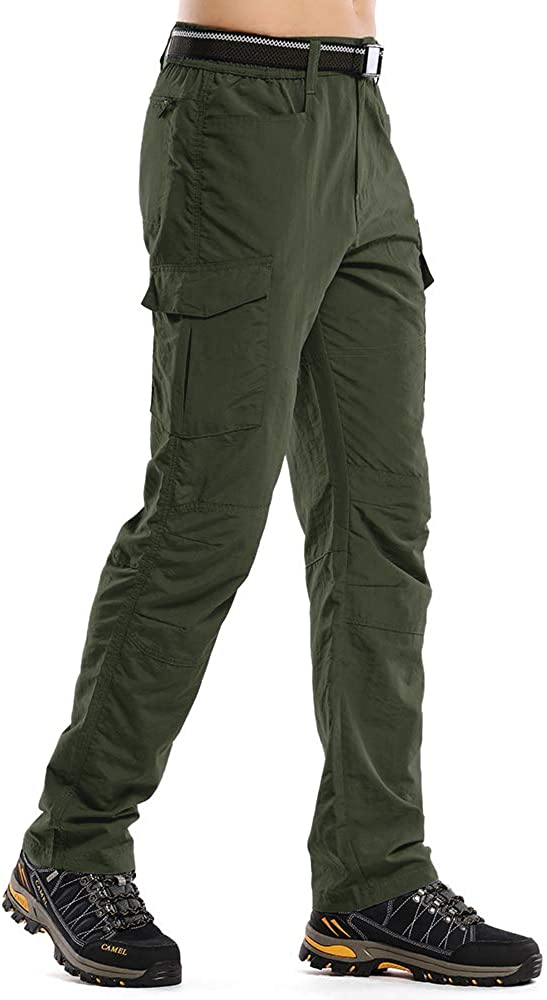 Hiking Pants Mens Fishing Cargo Lightweight Quick Dry Outdoor Work Anytime Nylon Pants