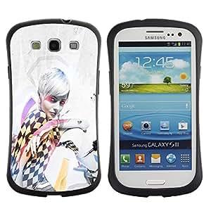 "Pulsar iFace Series Tpu silicona Carcasa Funda Case para SAMSUNG Galaxy S3 III / i9300 / i747 , Chica Mujer de pelo Blanco Negro Blanco Cuadrados Arte"""