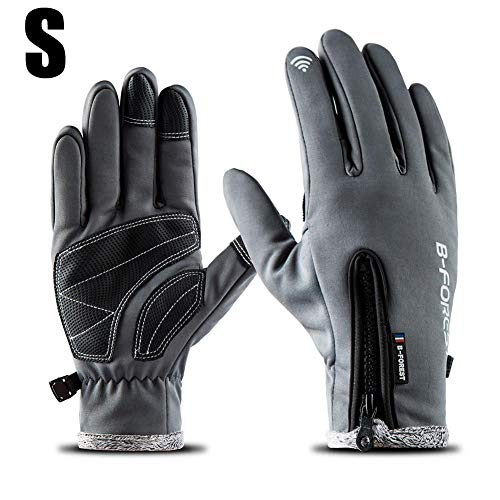 iBelly Outdoor Sports Warm Waterproof Slip-Proof Riding Motorcycle Polar Fleece Touch Screen Black Full Finger Ski Gloves