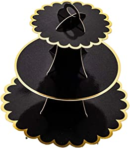 Esquirla 3 Tier Cupcake Stand Cake Tower, Premium Cupcake Holder, Cupcake Display Tree Stand for Pastry Dessert Food Wedding Birthday Party - Black