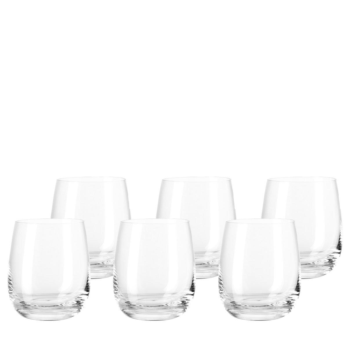 Set de 6 sencillos vasos pequeños de cristal.